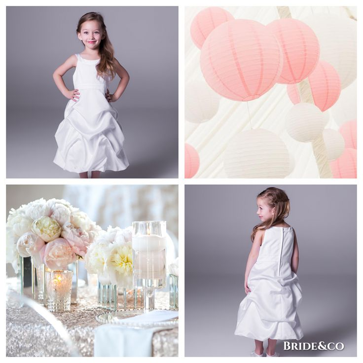 Super #cute, and perfect for your little angel to wear on your #wedding day! Get this #satin, pick-up #flowergirl #dress at Bride&co #SouthAfrica stores. Click to book a free fitting. #flowergirls #flowergirldresses