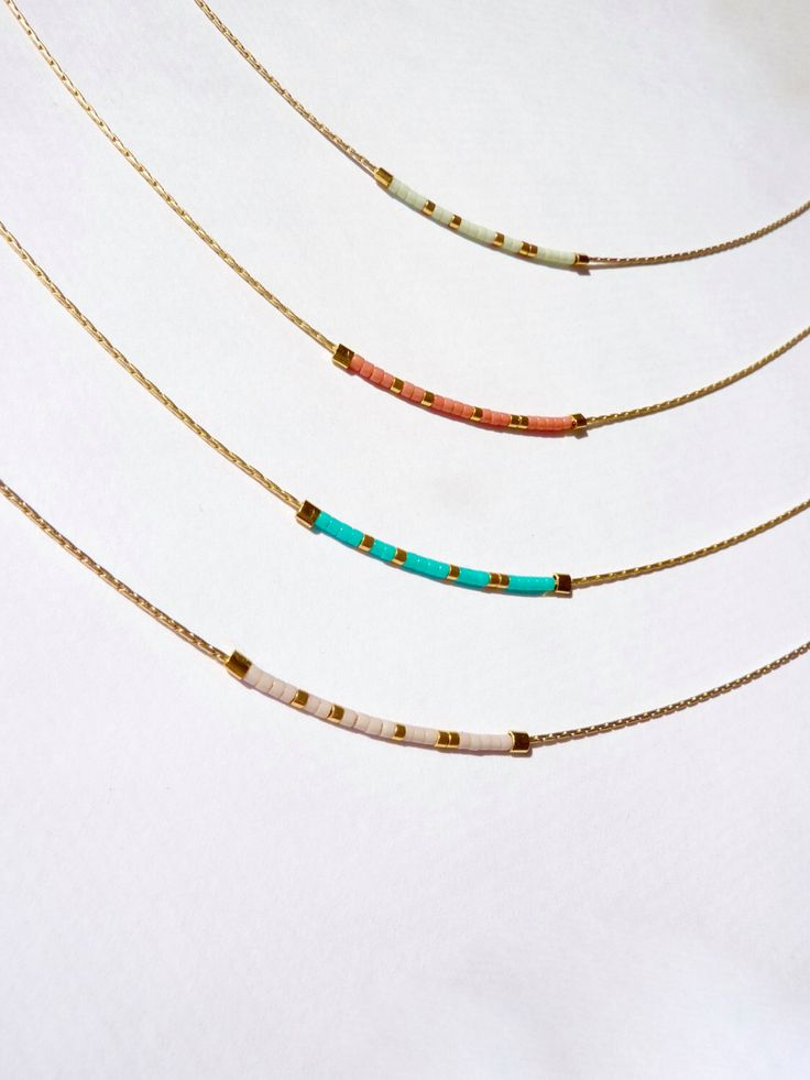 Tiny Minimalist Gold Necklace, Delicate Gold Beaded Necklace, Tiny Delicate Necklace, Minimalist Necklace, Bright Colorful Necklace by OceanBreakup on Etsy https://www.etsy.com/listing/264145103/tiny-minimalist-gold-necklace-delicate