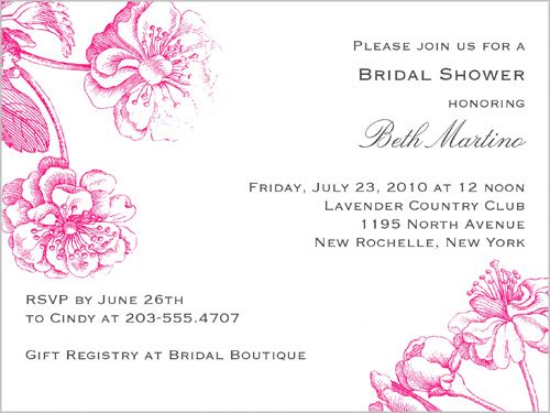 Vintage Blooms Fuschia Bridal Shower Invitation