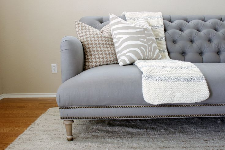 Linen Orianna Sofa Anthropologie | Grey Tufted English Roll Arm Couch
