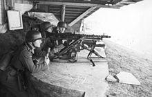 A German MG34 medium machine gun emplacement.
