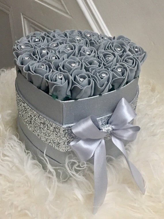 Forever Flowers In A Hat Box  Artificial Foam Roses  Crystals Birthday Wedding