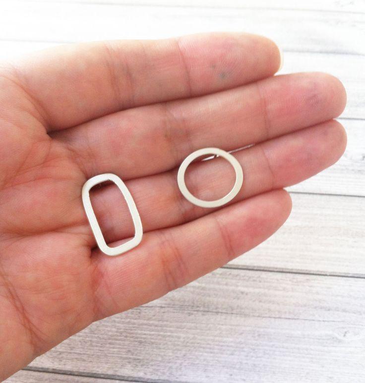 Earrings sterling silver asymmetric 10215OK1 - pinned by pin4etsy.com