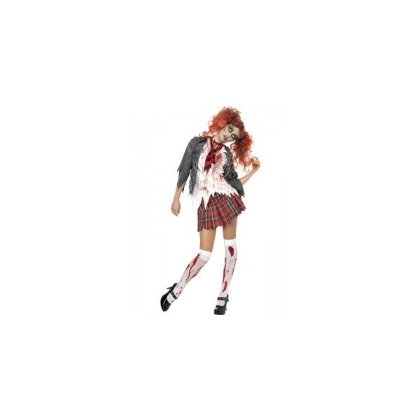High School Horror Zombie School Girl Fancy Dress Costume - Simon Says... ($46) ❤ liked on Polyvore featuring costumes, costume, fancy halloween costumes, zombie halloween costumes, horror halloween costumes, living dead costume and school girl