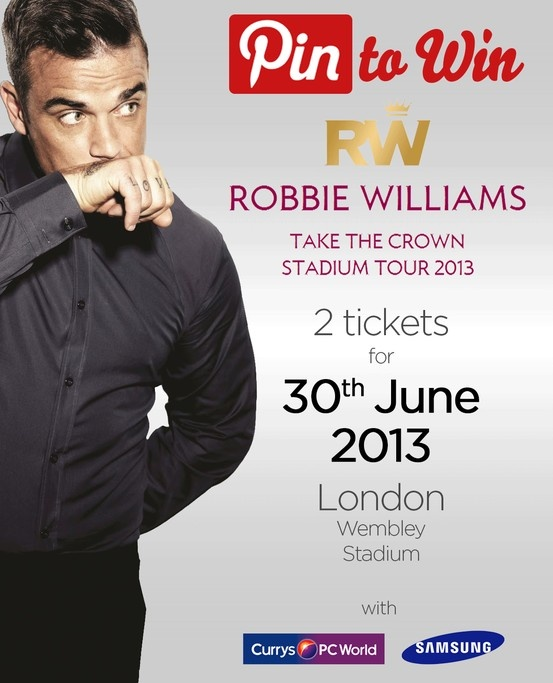 PIN TO WIN tickets to Robbie Williams 'Take the Crown' Tour 2013 at Wembley Stadium on 30th June 2013. Competition ends 4pm Thursday 30th May 2013. Full terms & conditions here: www.facebook.com/curryspcworld/notes