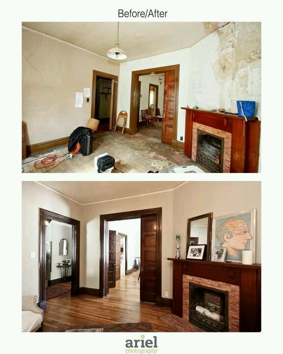 Rehab addict case ave living room before after by for What does nicole curtis house look like