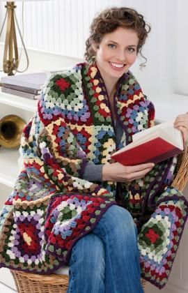 Traditional Classic Granny Square Throw Free Crochet Pattern from Red Heart Yarns