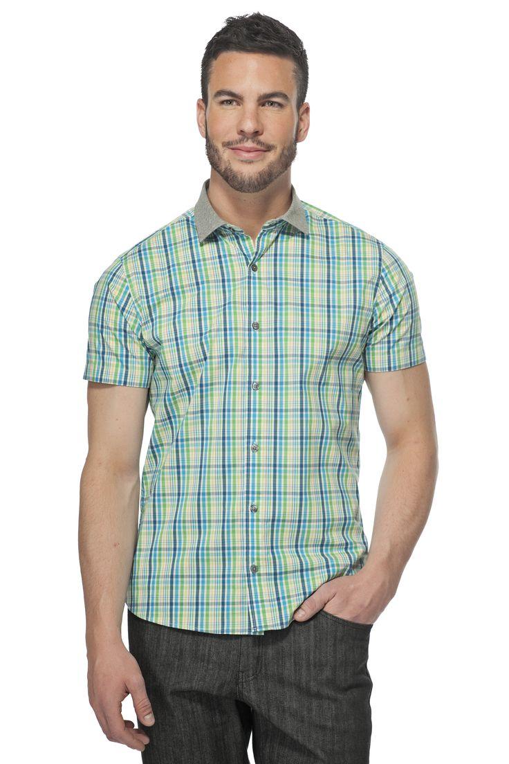 Chemise extensible à carreaux / Plaid stretch shirt  https://www.tristanstyle.com/en/hommes/nouveautes/chemise-extensible-a-carreaux-col-jersey/28/hv010d1291z/ #tristanstyle #ss15