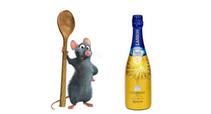 """Para lançar sua nova atração baseada no filme """"Ratatouille"""", a Disneyland de Paris em parceria com a marca Lanson (fabricante de champagne) desenvolveu um espumante a base de uvas Pinot …"""