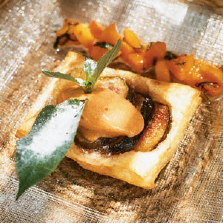 Tarte aux Figues, Matignon d'Abricots à la Sauge Ananas, Sorbet d'Abricot (Fig Tart with Apricot Sorbet)