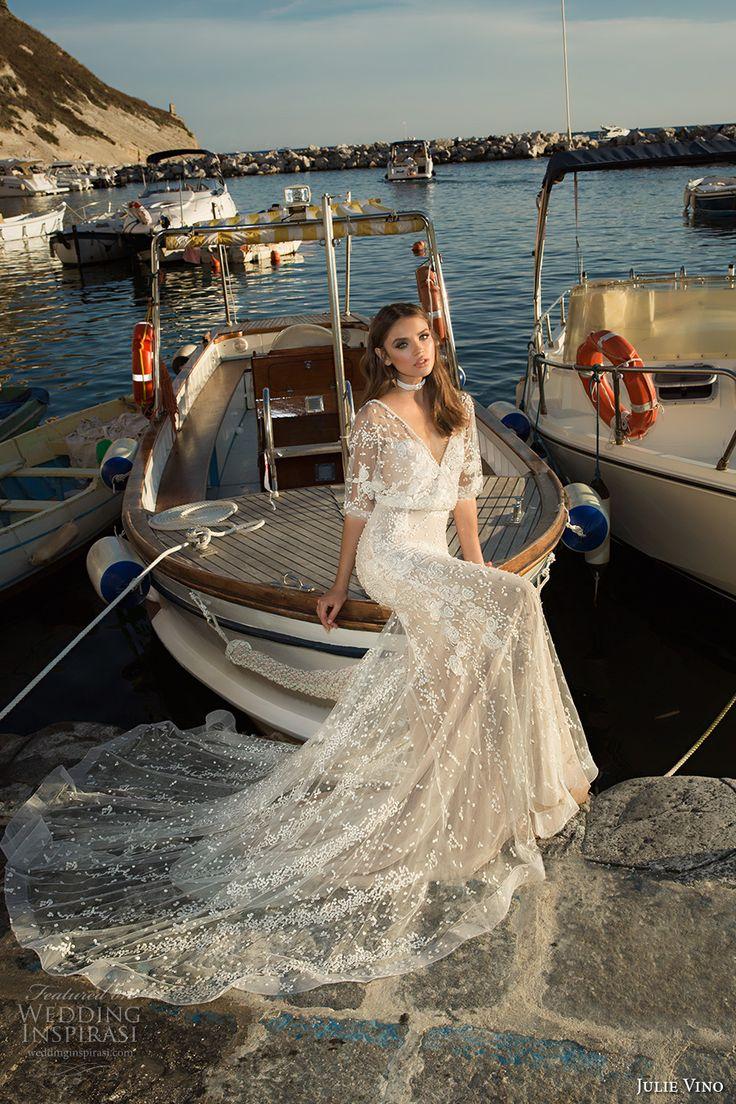 julie vino fall 2017 bridal half sleeves v neck full embellishment elegant romantic lace sheath wedding dress low back chapel train (1214) mv