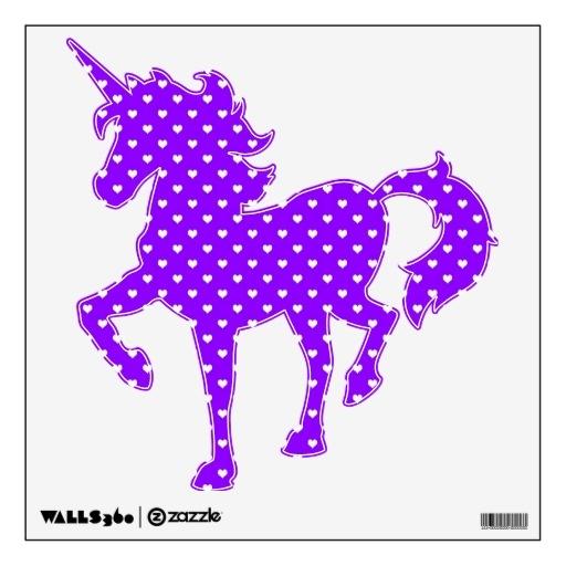 White Hearts on Purple Unicorn removable wall decor  sc 1 st  Pinterest & 9 best UniCorn images on Pinterest | Unicorns Unicorn and Bedroom