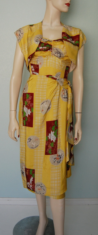 1950s Rayon Hawaiian Halter Sarong Dress with Bolero. $160.00, via Etsy.