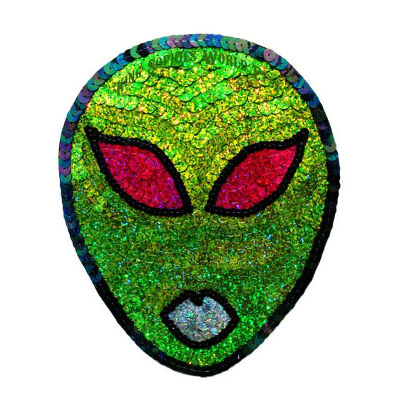 Custom Holographic Green 90s Cyber Alien Sequin Patch via Etsy