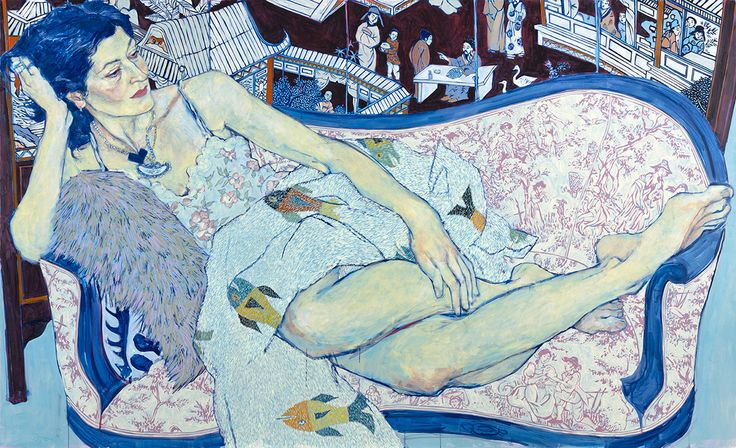 """mrhoneybunny:  """"  Hope Gangloff  """"Queen Jane Approximately""""  2011, Acrylic on canvas, 67.5″ x 108.5″  """""""