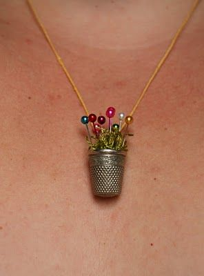 The Thimble Necklace Tutorial from thewindandthesail... What a cute idea.