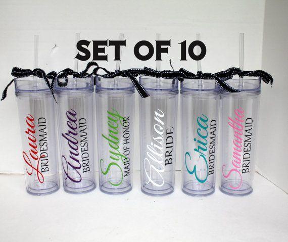 Set of 10 Personalized Tall Acrylic Tumbler - Bridesmaid, Wedding party, Bridal Shower, Bachelorette via Etsy