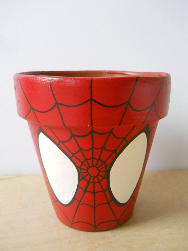Spiderman Marvel Superhero Comic Book painted flower pot Spider Man