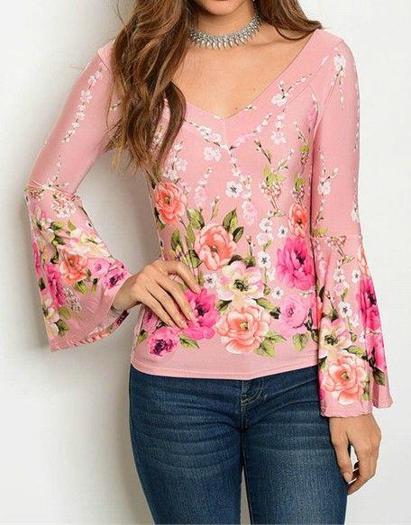Pink V-neck Floral Printed Top