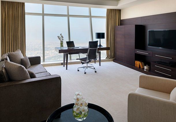 This is a Marriott in Dubai, but I want the entertainment wall and storage in my living room!