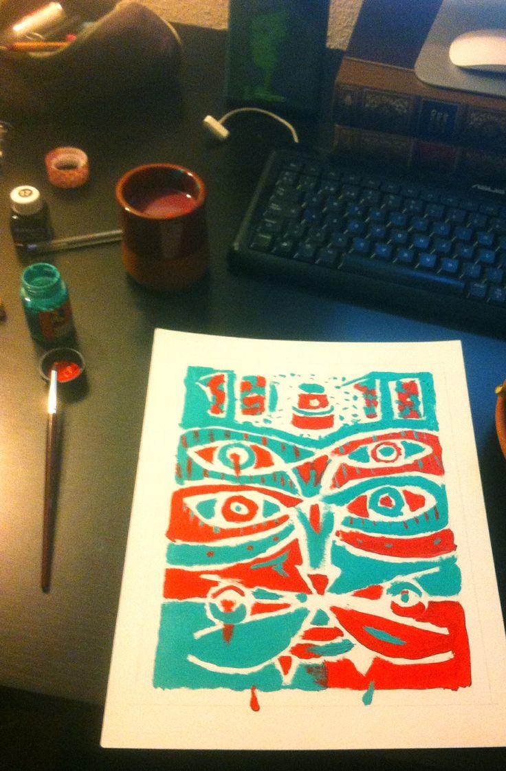 En esta tarea aprendí una técnica llamada falso grabado, consiste en realizar el dibujo dejando márgenes en blanco para luego darle una capa de tinta china, terminando estos espacios en negro dando unos contrastes muy bonitos.