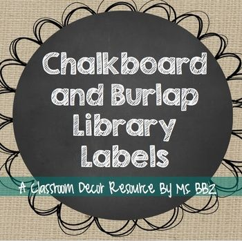 Chalkboard and Burlap Library Labels