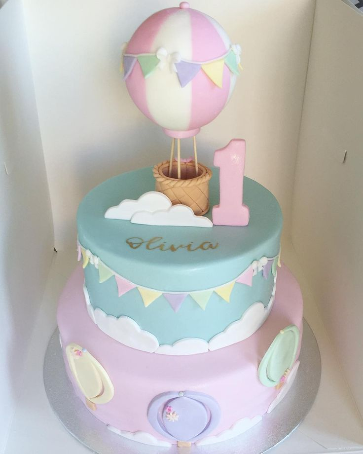 Baby Cake In 2020 Balloon Birthday Cakes Baby First Birthday