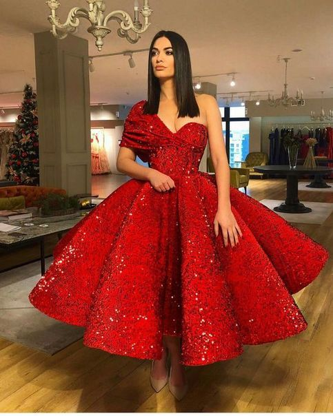 7714fab8e3 2018 Sparkling Red Sequin Ball Gown Prom Dresses with One Shoulder ...