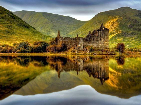 At the Kilchurn Castle in Scotland.