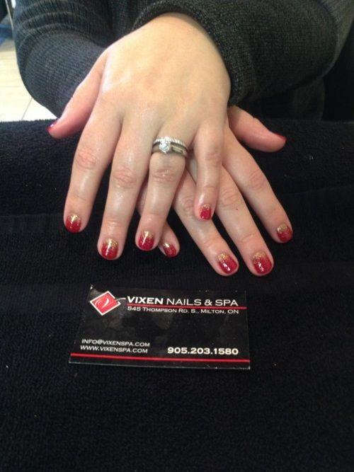 Festive Shellac Glitter Manicure www.vixenspa.com