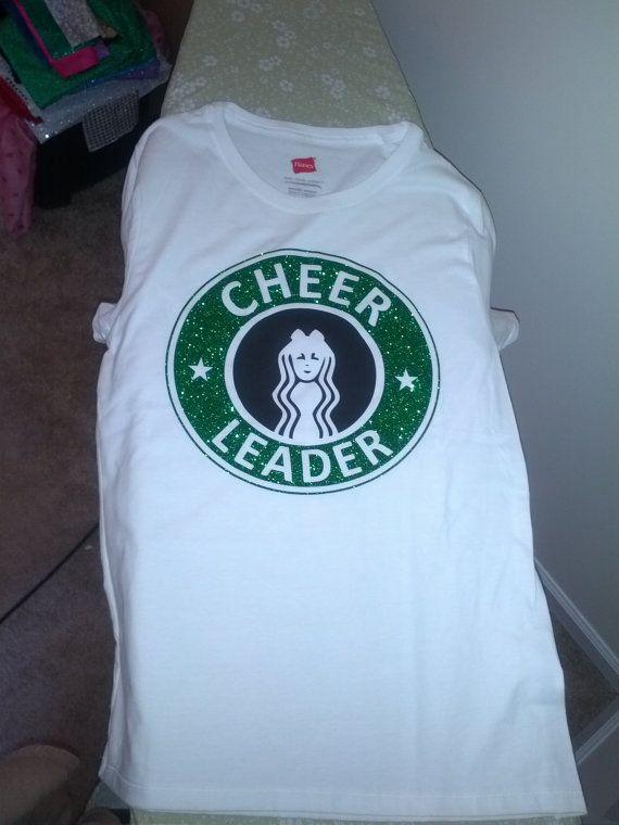 glitter starbucks inspired cheerleader t shirt - Cheer Shirt Design Ideas