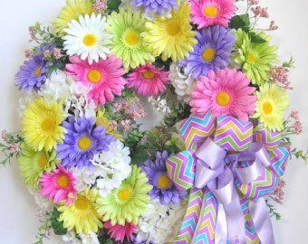 Spring Wreath, Easter Wreath, Spring Hydrangea Wreath, Gerbera Daisy Wreath,   Summer Wreath, Mother's Day Wreath