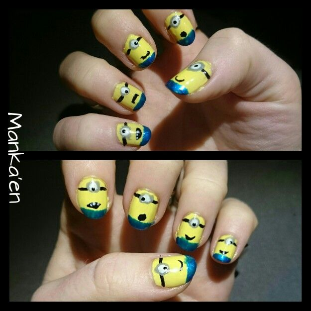 Tonight's project! MINIONS??! :-D  It's not as good as would've done it, but due to too cheap nail polish, the level of ambitions were very low :-P