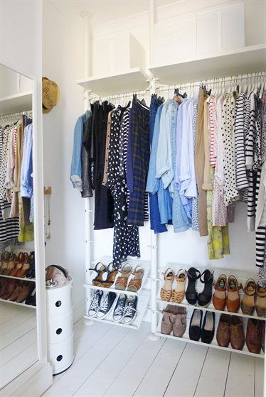 Walk-in wardrobe with a STOLMEN system - making the most of a small space. http://www.ikea.com/gb/en/search/?query=stolmen