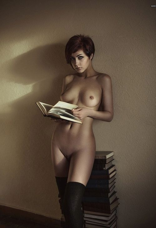 Little girl reading book nude think, that