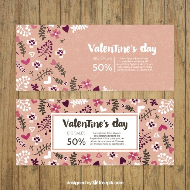 Valentine day floral banners Free Vector