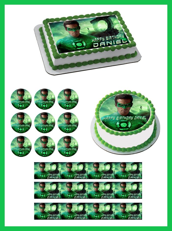 Green Lantern Edible Birthday Cake Topper