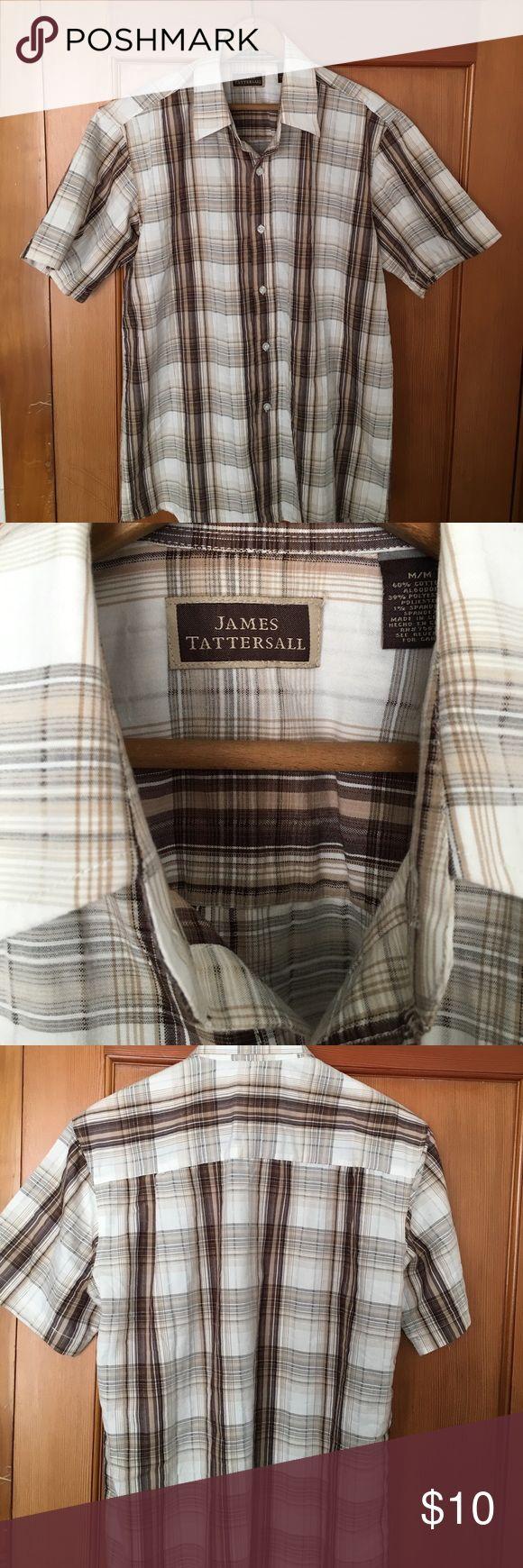 👨🏻Men's James Tattersall Plaid shirt Men's medium shirt sleeve Plaid shirt. Brown/white/cream Plaid. Perfect for summer. Very good condition. james Tattersall Shirts Casual Button Down Shirts