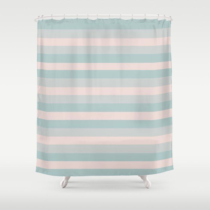 Buy Dusty Teal And Dusty Rose Stripes Shower Curtain By Blerta