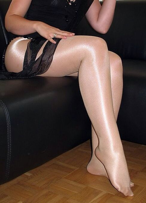 Very silky pantyhose mature
