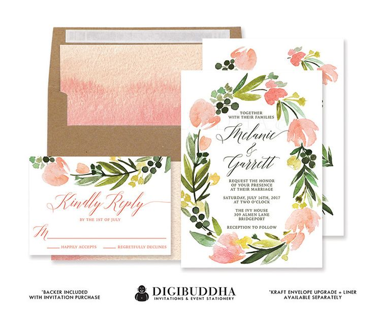 Watercolor Flowers Wedding Invitation & RSVP by digibuddhaPaperie