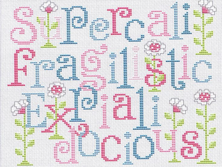 Supercalifragilisticexpialidocious - the song from Mary Poppins in pastels decorated with daisies.