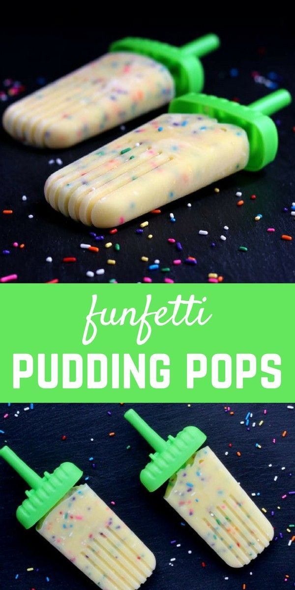 Easy to make, festive, and fun, these funfetti pudding pops will be a fun treat for the whole family. Kids especially love these! Get the popsicle recipe on RachelCooks.com!