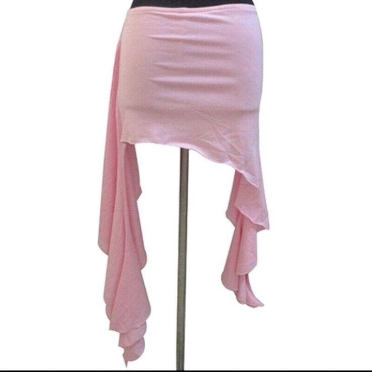 Mini falda con short incluido para danza tribal estilo steampunk color rosa claro. TALLA UNICA