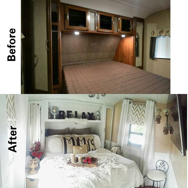 Before and After of my bedroom in my house on wheels ♡♡♡♡ When we first started to live this lifestyle I loved my house on wheels but it was so dark and didn't have a home feel. I've put so much into creating a peaceful and relaxing space for my family and I. It's been alot of team work on all of our parts and several cans of spray paint ... :) I hope you enjoy and have a beautiful and blessed week ahead. ♡♡♡♡