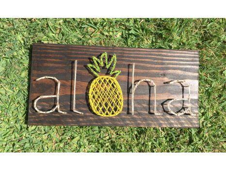 Aloha Pineapple Wood Sign