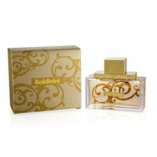 Baldinini Perfum De Nuit Woman No one can resist the subtle sexy accords of delicate florals warmed by intense notes of rosewood sandalwood and musks. A fragrance of timeless appeal. (75 ml./2.5 oz.)