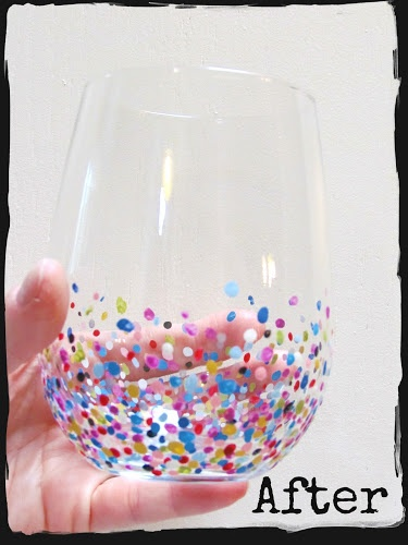 twobutterflies: Hand-painted Confetti Glasses