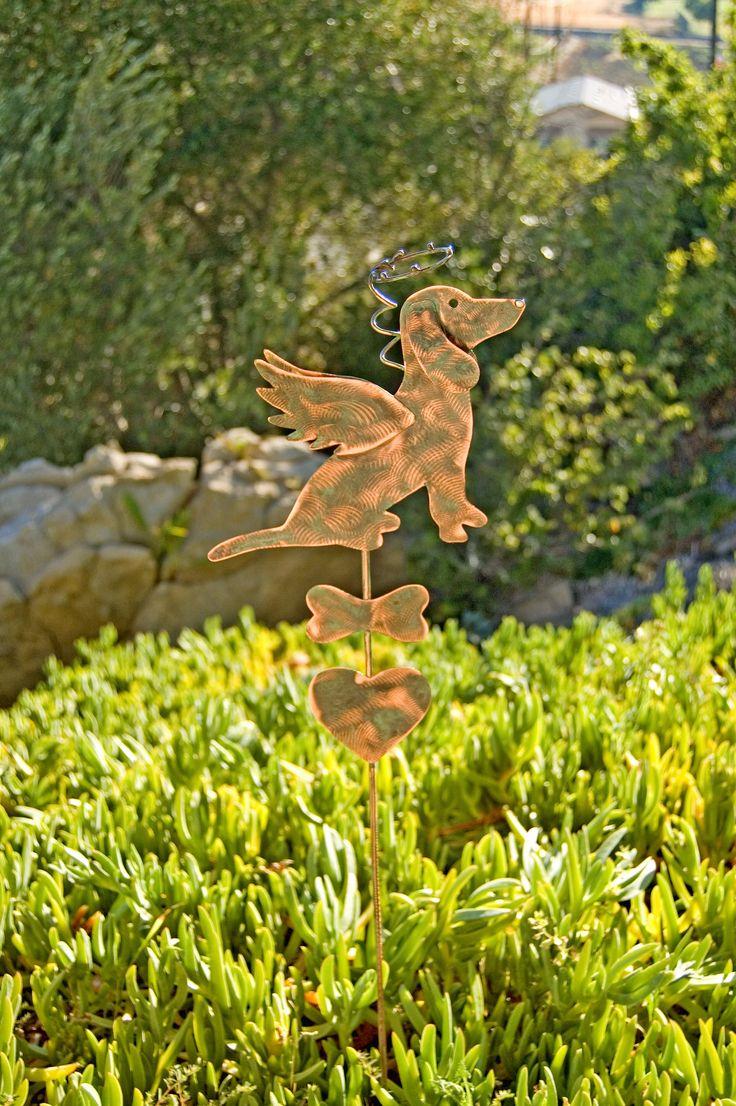 Dachshund Metal Garden Art Pet Memorial Copper Garden Stake, Pet Grave Marker, Metal Yard Art, Outdoor Metal Art,  Copper Garden Sculpture by GardenCopperArt on Etsy