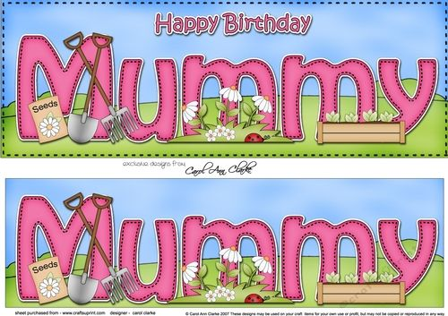 Large DL Happy Birthday MUMMY 3D decoupage by Carol Clarke My New, slightly different large DL personalised card design which has a ready…
